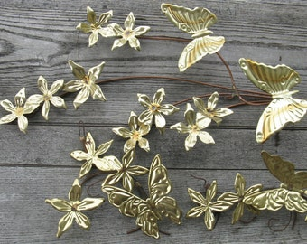 goldtone metal butterfly and flower sprays set of 3 boho home interiors woodlands feminine