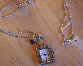 Watch Pendant Necklace, Watch Pendant Charm, Purple Charm, Birthstone Amethyst, February