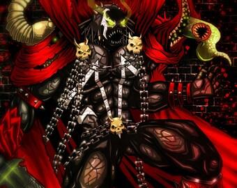 PRINT - HELL SPAWN - Comic Book Comics Hero Villain Art Print