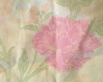 Orange and Pink Floral Polyester Fabric 2 Yards X0482