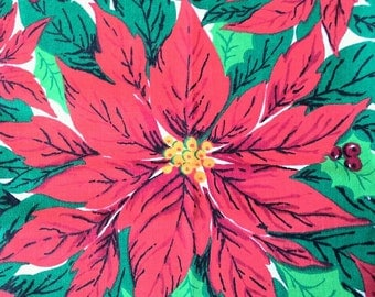 Poinsettia Christmas Fabric Polyester Cotton Blend 1 1/4 Yards X0492