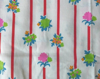 Floral Print with Stripes Cotton Polyester Blend Fabric, Green, Red, Pink, Yellow, Blue 1 1/2 Yards X0551