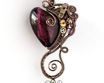 OOAK Purple steampunk heart pendant