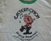 Vintage 80's Eastern Onion Singing Telegram Funny Punk Rock Non tour Ringer White T Shirt S