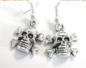 VALENTINES DAY SALE - Silver Skull And Crossbones Earrings Skull Jewelry Silver Jolly Roger Pirates 182