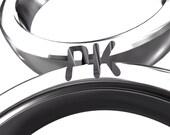Konstanze's special order       Unique couple ring set, PK  Initials ring set, 14k  White gold wedding ring set