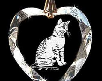 Egyptian-Mau Cat Jewelry Hand Etched Austrian Crystal Custom Necklace Pendant Suncatcher made with any Animal or Name YOU Want, Gift, kitty,