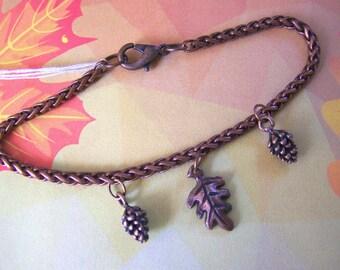 Autumn Charm Bracelet Antiqued Copper