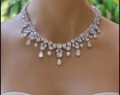 Crystal Necklace, Crystal Bridal Necklace, Crystal Bridal Jewelry, Crystal Wedding Necklace,  Wedding Jewelry, JULIETTE