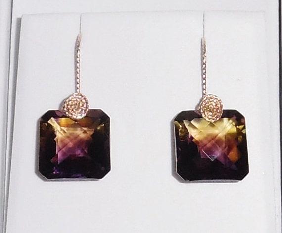 33cts Natural Emerald CKB Bolivian Bi-Color Ametrine gemstones,  14kt yellow gold Pierced Earrings