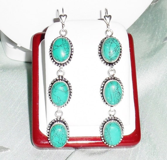 CLEARANCE, Blue Turquoise stones, solid sterling silver heart leverback Pierced Earrings