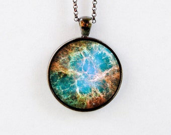 Outer Space Jewelry - Astronomy Necklace - Galaxy Pendant - Star Space Pendant Necklace - Crab Nebula