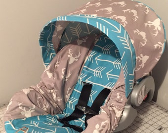 TRIBAL ARROWS & STAG buck deer head sillouett  gray, blue, tan carseat cover with free monogram