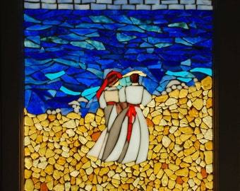 By the Sea - Stained Glass Mosaic Vintage Window