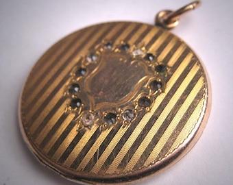 Antique Victorian Gold Locket Pendant Necklace Stones Shield 1890