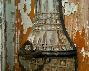 Single Vintage Beaded Basket Sconce French