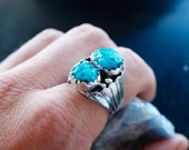 Breathtaking Navajo Turquoise & Sterling Eagle Wing Ring sz. 10.5