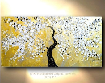 """Gold Metallic Art Abstract Painting White Flowering Tree Gift Idea Flower Painting Blossoms Flowers Textured Palette Knife Oil 48"""" By OTO"""