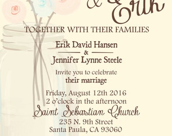 25 printed-5X7- Rustic themed Wedding Invitations