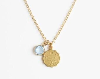 Zodiac and Birthstone Necklace, Horoscope Necklace, Custom Zodiac Necklace, Dainty Zodiac Necklace, Zodiac Necklace Gold, Taurus Sign