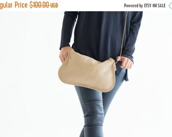 Summer SALE, Nude Leather Bag, Crossbody Leather Purse, Wristlet Clutch, Soft leather hobo bag, Leather makeup bag, Party Bag, Leather Strap