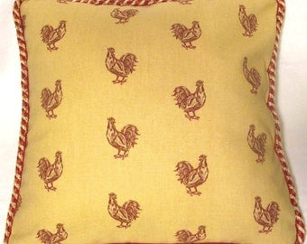 Country French Cottage Rooster Pillow Provence Pink blue Ivory Toile Hens