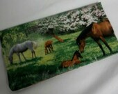 Ladies Checkbook Cover Coupon Holder Clutch Purse Billfold Ready-Made Pasture Horses