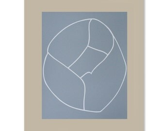 Minimal absract / abstract screenprint, 'Camellia Bud', simple and bold in grey and white on somerset grey paper. Contemporary printmaking