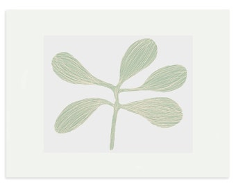 silkscreen print, soft green, screenprint, original handmade art, leaves, small modern wall art by Emma Lawrenson.