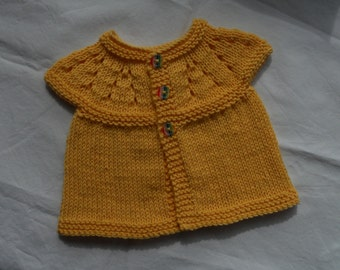 "Small/premie baby girl's hand knitted cardigan/jacket, in sunshine yellow wool/cotton blend yarn, chest approx 12/13""."