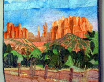 Landscape Art Quilt , Fiber Art Wall Hanging Mixed Media Wall Quilt , Sedona USA , One of a Kind Wall Quilt , Gift for Home Gift for Office