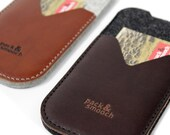 iPhone 7 / 6s / 6 wallet case cover WITH Apple Leather Case - KIRKBY -  100 % wool felt, pure vegetable tanned leather sleeve