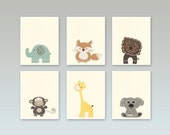 Baby nursery art Nursery art decor Close-up portraits Set of Prints Brown Tan Cream Navy Safari animals Giraffe Monkey Fox Bear Elephant