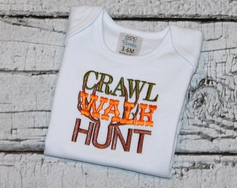 Crawl, Walk, Hunt Bodysuit, Newborn Boy's Hunting Shirt, Camo, Going Home Outfit, Newborn Hospital Outfit