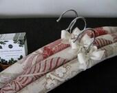 Linen Hangers, Linen Padded Hangers, Floral Padded Hangers, Coral Floral Padded Hangers, Organic Ribbon, Ladies Linen Hangers (Set of 3)