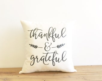 thankful and grateful pillow cover, fall decor, thanksgiving, seasonal pillow, newlywed gift, housewarming gift,typography pillow, fall gift