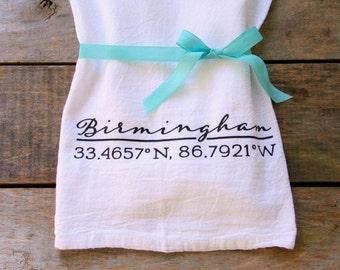 custom coordinates tea towel, for the bride, personalized tea towel, newlywed gift, housewarming gift, address tea towel, hostess gift