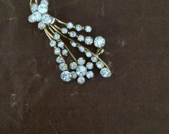 Vintage Gilt Floral Rhinestone Brooch