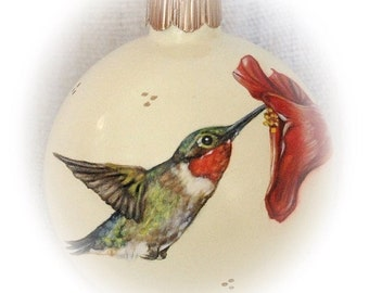 Christmas Ornaments - hand painted Hummingbird glass ball ornament