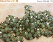 sale Vintage Style Handmade in USA Linked Rosary style Chain Sea Lily green luster flash Flat faceted crystal beads