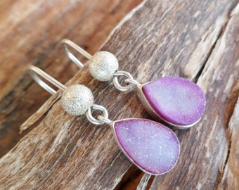 Druzy Agate Earrings. Sterling Silver Earrings. Handmade Earrings. Agate Earrings. Purple Druzy Agate Earrings. Druzy Earrings.