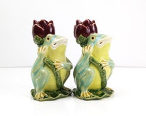 Vintage Majolica Frog Candle Holders / Chinese Pottery / Two Frog Candlesticks