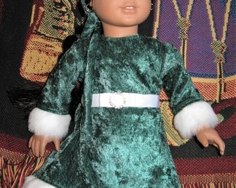 Green Velvet Holiday  Party Dress with Faux fur trim, fits American girl doll
