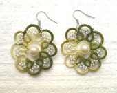 Handmade tatted earrings made of green cotton thread and  beads