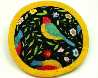 Catnip Toy Bird, Bird Cat Toy, Cat Toy Bird, Black and Marigold Pillow, Folk Art Birds, Multi-Color Birds, Beautiful Bird Pillow,  GISELA