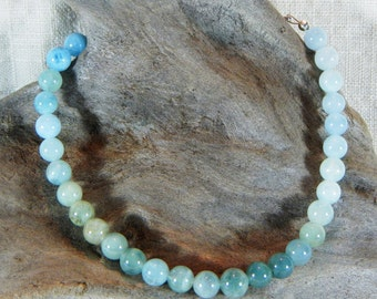 """Blue green aquamarine bracelet 9.25"""" long March October birth stone morganite semiprecious stone jewelry packaged in a gift bag 12143"""