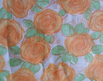 Vintage 50s Tangerine Roses Cotton Print Quilting, etc. 2/3 Yd plus 46 wide Unused