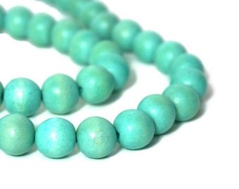 Wood Beads Aqua Green 12mm round, eco-friendly wooden beads (932R)
