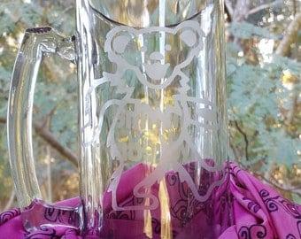 Custom Dancing Bear Sunshine Daydream Glass Etched 22oz Beer Mug or Pilsner Glass Grateful Dead
