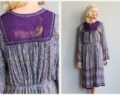 1970s Dress // Indian Cotton Peacock Embroidered Dress // vintage dress